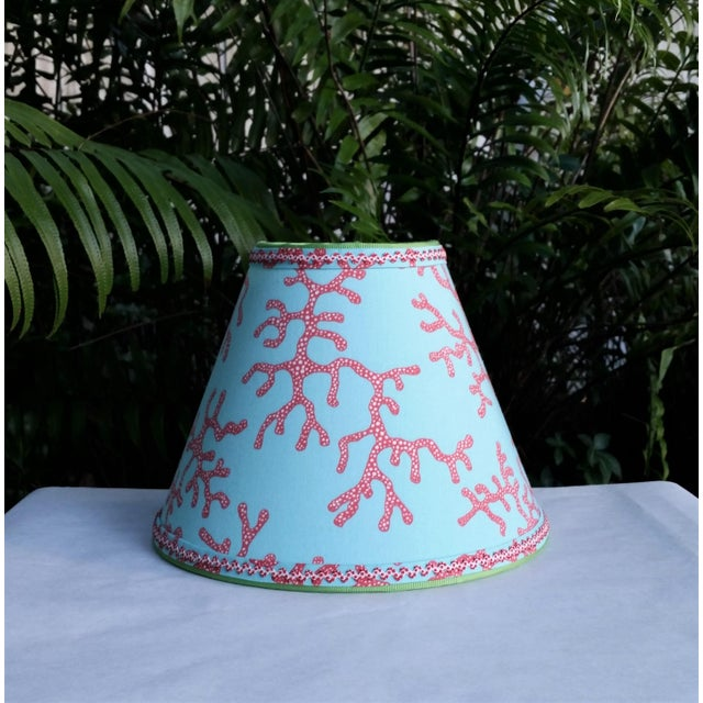 White Lilly Pulitzer Fabric Lampshade Blue Red Clip On For Sale - Image 8 of 11