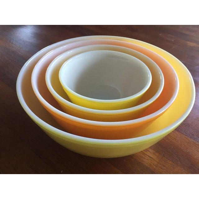 Vintage Pyrex Sunny Yellow Orange Mixing Bowls - Set of 4 | Chairish