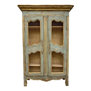 French Provincial Antique Painted Bookcase Display Cabinet For Sale