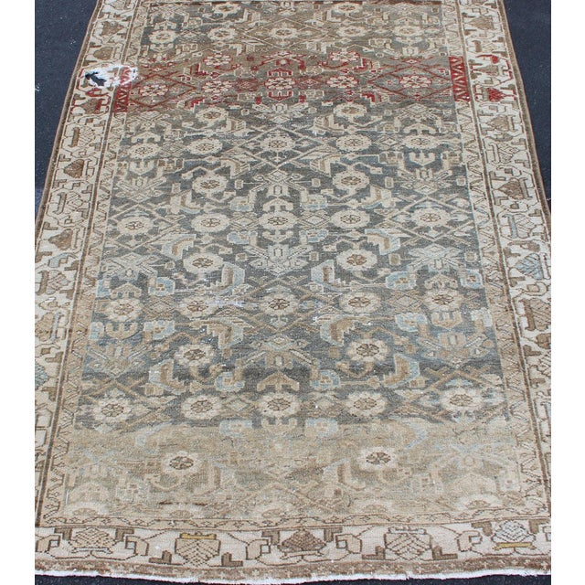 Persian Earthy Tone Vintage Persian Hamadan Rug With All-Over Pattern For Sale - Image 3 of 12