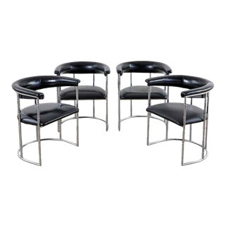 Set of Four Midcentury Chrome Faux Bamboo Barrel Chairs For Sale