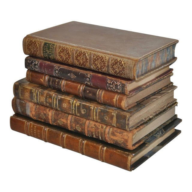 Antique Leather Bound Books - Set of 6 - Image 1 of 7