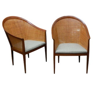 1960s Vintage Kipp Stewart for Directional Cane Armchairs - A Pair For Sale