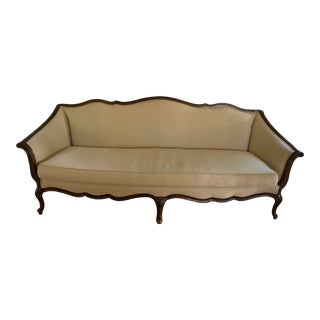 1980s Traditional Tan Fabric Sofa For Sale