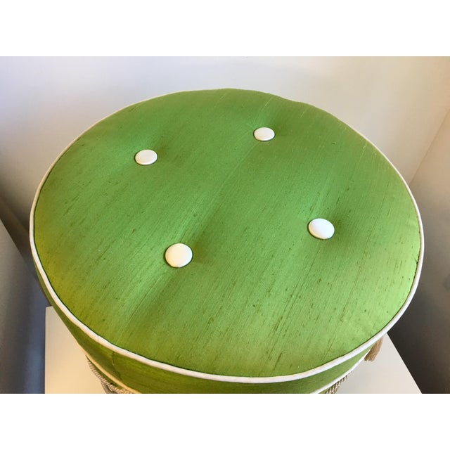 1960s Hollywood Regency Green Silk Footstool For Sale - Image 5 of 8