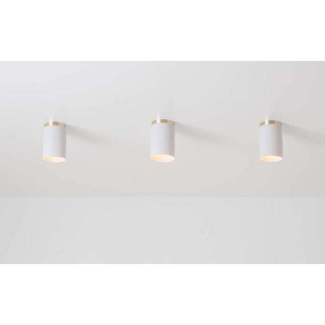 Contemporary Contemporary Surface White Porcelain & Brushed Brass Flush Mount Ceiling Light For Sale - Image 3 of 9