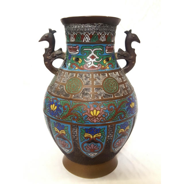 Metal Japanese Enamel-Over-Bronze Champleve Vase With Peacock Head Handles Antique For Sale - Image 7 of 7