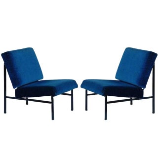 "Contemporary ""Déclive"" Blue Slipper Chairs - a Pair For Sale"