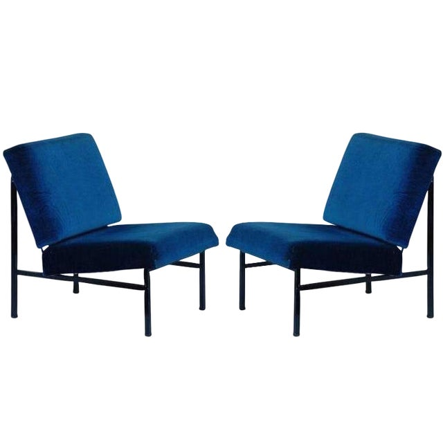 """Contemporary """"Déclive"""" Blue Slipper Chairs - a Pair For Sale"""