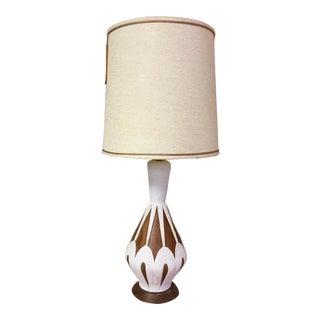 Mid-Century Modern Geo Walnut Table Lamp