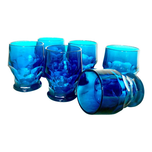 1960s Mid-Century Turquoise Blue Water Glasses - Set of 6 For Sale