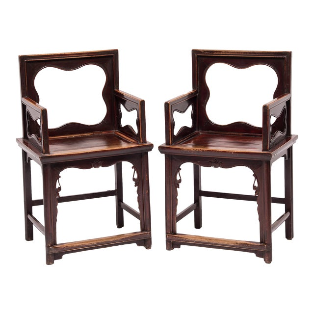19th Century Chinese Rose Chairs - a Pair For Sale