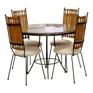Mid Century Modern Arthur Umanoff Wood & Iron Dinette Set For Sale