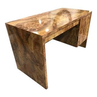 Vintage Custom Burlwood Veneer Desk - Milo Baughman Style