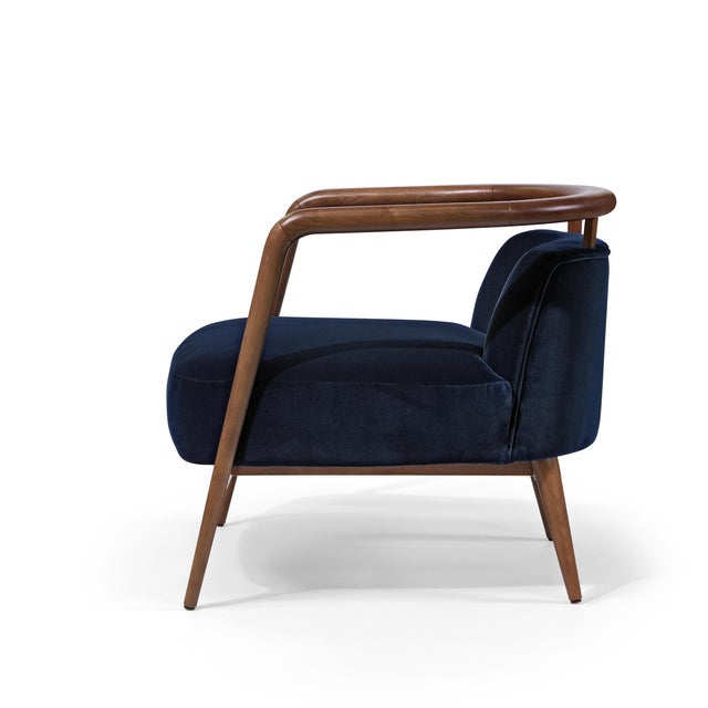 Contemporary Mid Century Style Scandinavian Modern Walnut Lounge Chair For Sale In New York - Image 6 of 6