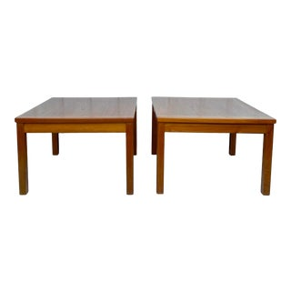 Pair Scandinavian Modern Teak End Tables For Sale