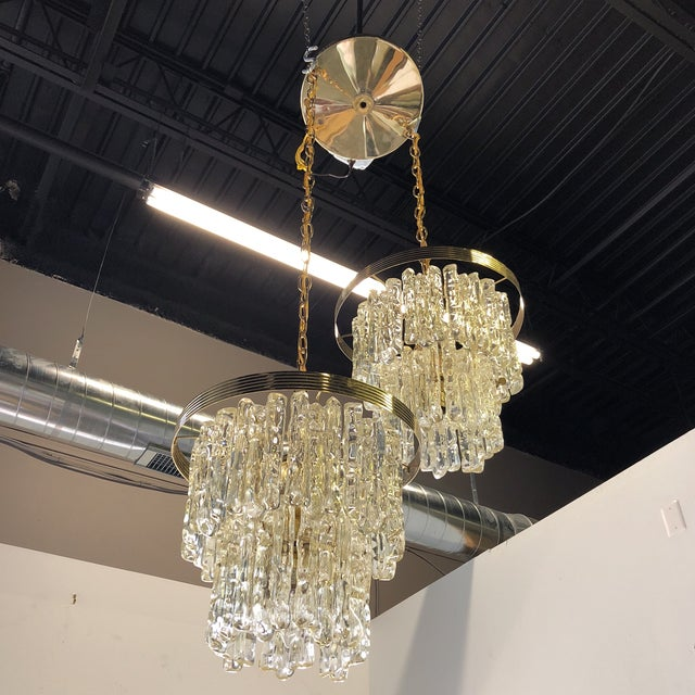 Gold Vintage Icicle Double Pendant Light For Sale - Image 8 of 9