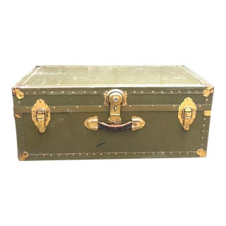 1940s Olive Green Foot Locker Trunk For Sale