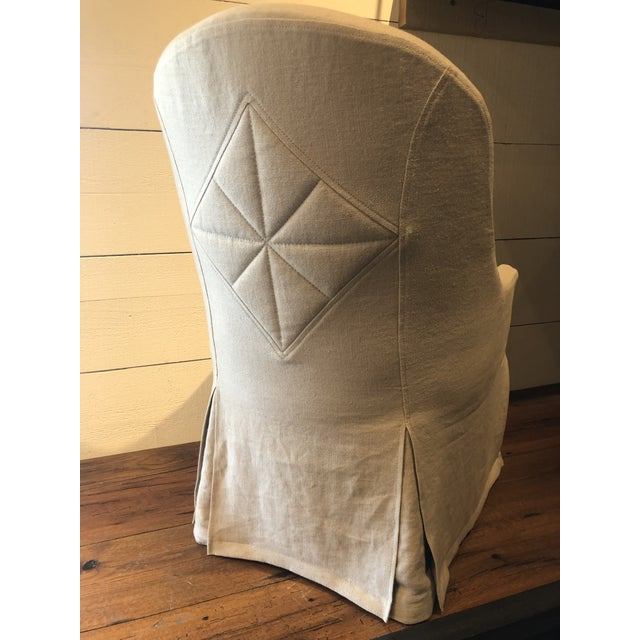Quilted Back Detail- Lancaster Custom Crafted Upholstery Slipcovered Dining Chair For Sale In San Francisco - Image 6 of 9