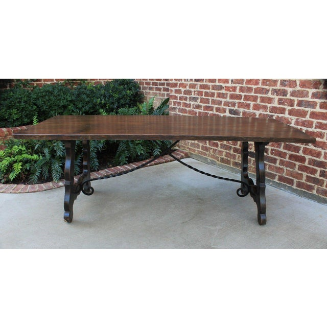 Antique French Spanish Oak 19th Century Mission Catalan Style Farmhouse Dining Table Desk For Sale - Image 13 of 13