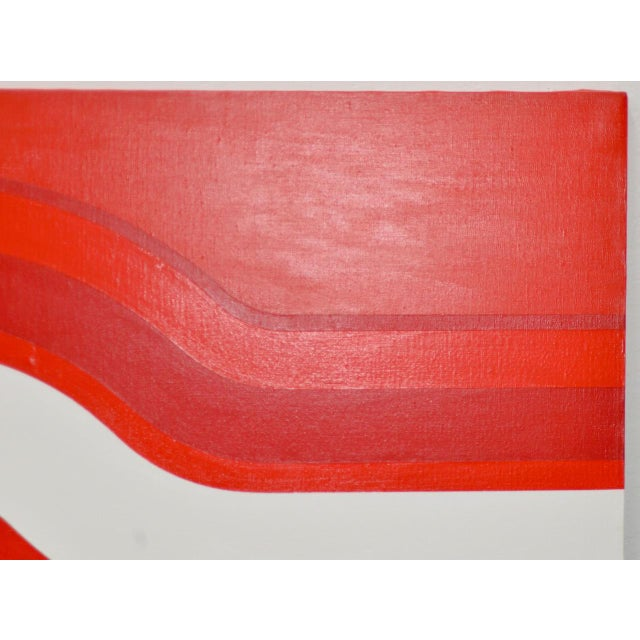 Vintage Red & White Op-Art Painting by Charles Hersey C.1970s For Sale - Image 4 of 8