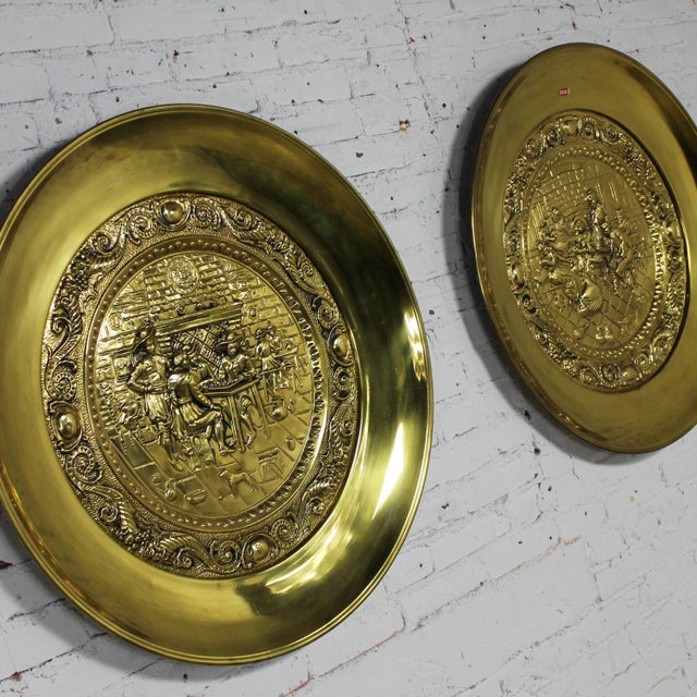 Edwardian Peerage Brassware Decorative Embossed English Wall Plates - a Pair For Sale - Image 3 of 11