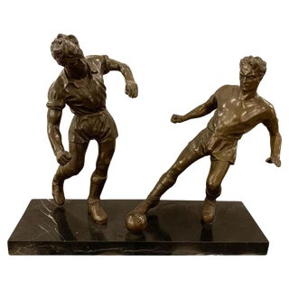 Pair of Bronze Football or Soccer Players For Sale