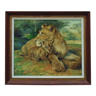 Lion & Cub Painting Oil on Canvas Signed Margery Stocking Hart Mid Century Modern Animals For Sale