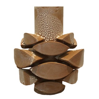 Contemporary White Crackle Totem Medium Vase by Titia Estes For Sale