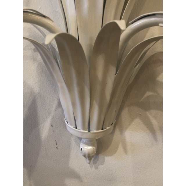Vintage Palm Beach Italian White Metal Palm Frond Leaves Wall Light Sconces-A Pair For Sale - Image 4 of 13
