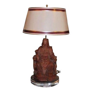 Antique Chinese Carved Wood Buddha Sculpture Lamp W Custom Shade For Sale