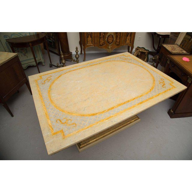 Paint Custom Hand-Painted Dining Table and Base For Sale - Image 7 of 8