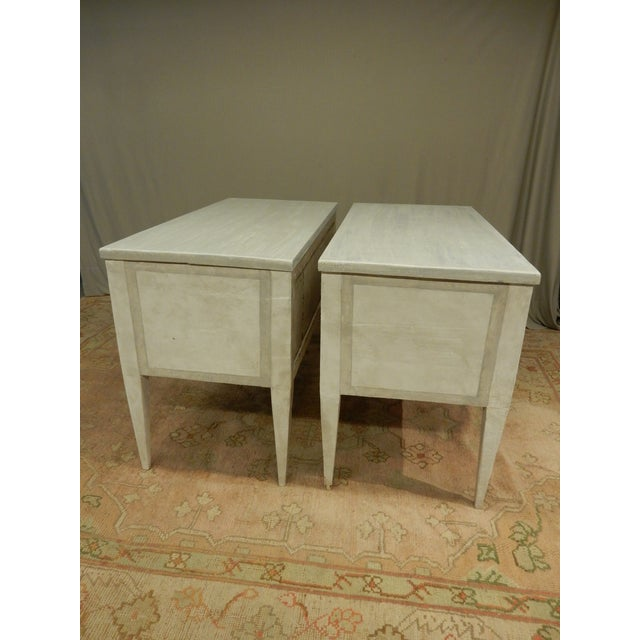 Pair of Antique Painted Louis XVI Style Commodes For Sale - Image 4 of 12