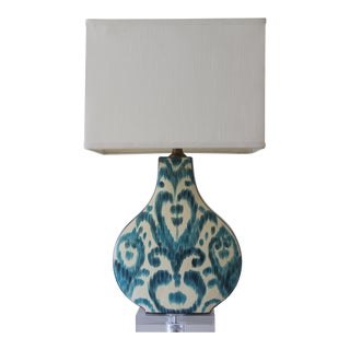Abstract Greystone Indigo Ceramic Ikat Lamp For Sale