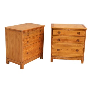 Mid Century Blonde Wood 3 Drawer Nightstands - a Pair For Sale