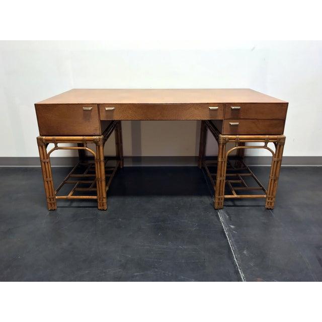 Vintage Refurbished Henredon Bamboo Rattan Double Pedestal Desk For Sale - Image 13 of 13