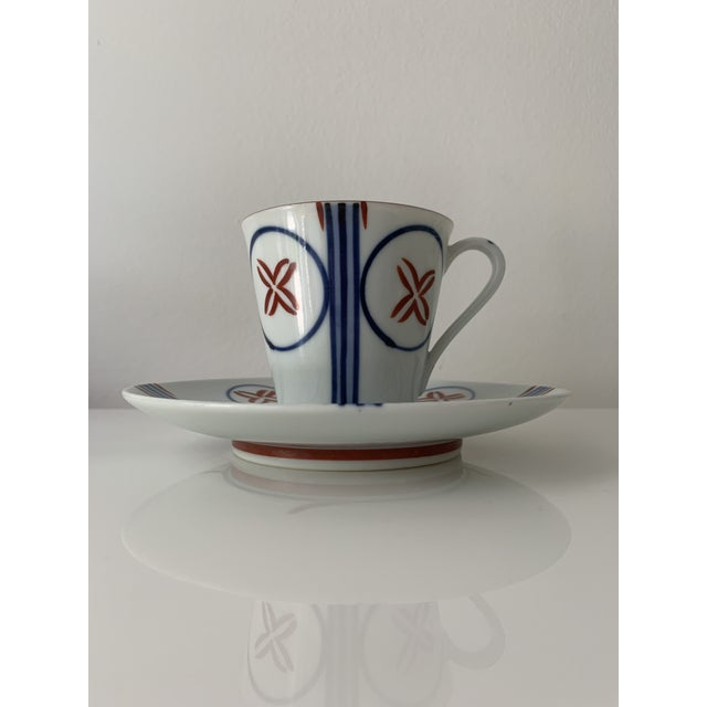Japanese Mid Century Japanese Tea Cups and Saucers - Set of 6 For Sale - Image 3 of 13
