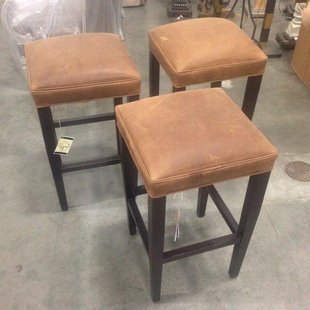 Richard Allen Leather & Wood Bar Stools - Set of 3 - Image 2 of 7