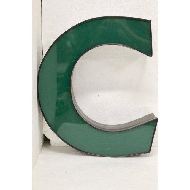 "1970s Vintage Green Channel Letter ""C"" For Sale - Image 5 of 5"