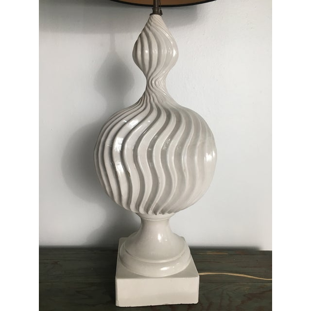 Mid 20th Century Monumental Ceramic Double Gourd Lamps with Shades - a Pair For Sale - Image 5 of 12