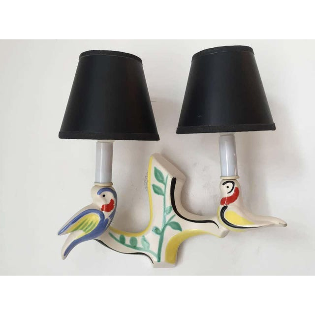 White 1950s French Art Pottery Wall Lights in Jouve Style - a Pair For Sale - Image 8 of 9