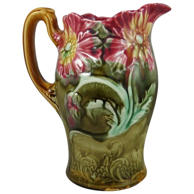 1900s Art Nouveau Majolica Onnaing Signed Poppies Pitcher For Sale