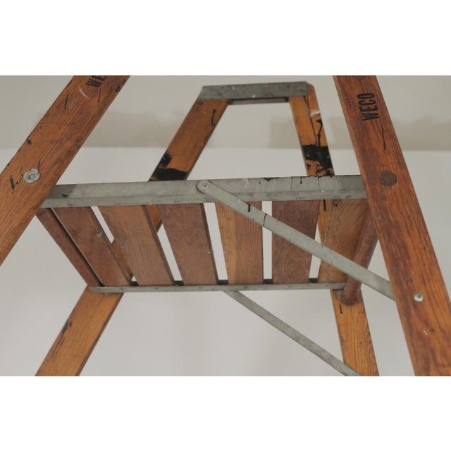 Brown 1920s Industrial Folding Ladder With Standing Platform For Sale - Image 8 of 9