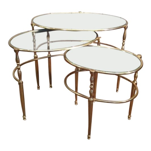 Mid Century Brass Oval Nesting Tables For Sale