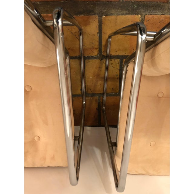 Milo Baughman Style Mid Century Modern Ultra Suede and Chrome Club Chairs- a Pair For Sale In Philadelphia - Image 6 of 10