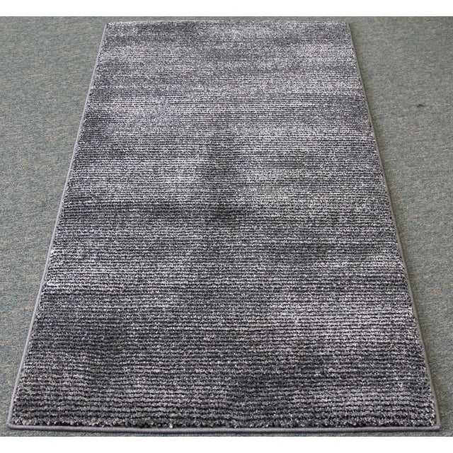 Black and Gray Striped Rug - 2′8″ × 5′ - Image 2 of 4