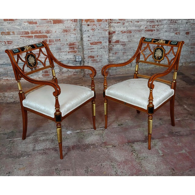 Hollywood Regency 1990s Vintage Baker Painted Regency Arm Chairs -Set of 4 For Sale - Image 3 of 12