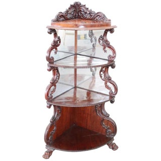19th Century English Mahogany Carved Antique Corner Shelves For Sale