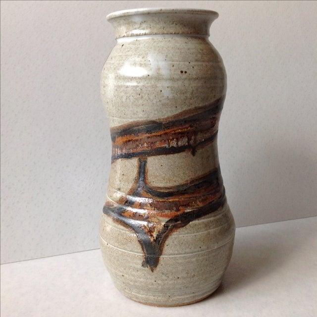 Studio Pottery Neutral Tone Glazed Vase - Image 10 of 11