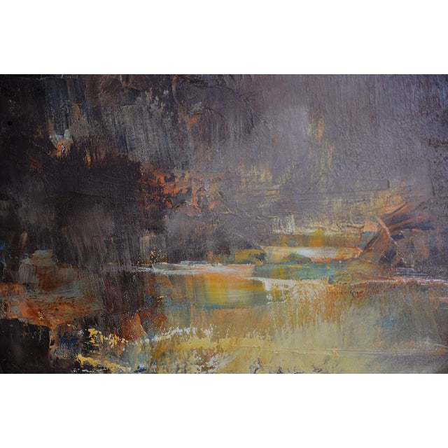 """Don Clausen """"Warm Winter Sky"""" Abstract Landscape Oil Painting C.1963 For Sale - Image 9 of 11"""
